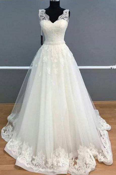 A-line White Wedding Dress with Scalloped V Neck,Wedding Dresses,Long Bridal dresses
