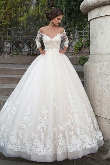 New Hot Three Quarter Sleeve Vintage Lace Applique Sweetheart Lace Up Back A-line Wedding Dresses