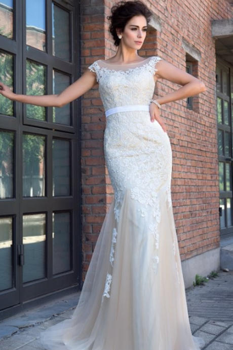 Mermaid Sheer Neck Prom Dress,Applique Short Sleeves Wedding Dresses,Sweep Brush Train Bridal Dresses,Net Dresses