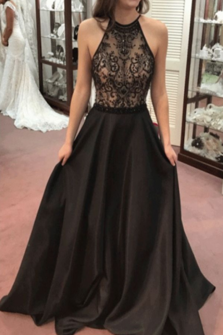 Beaded/Beading Prom Dresses, Black A-line/Princess Prom Dresses, Long Black Prom Dresses, Plus Size prom long maroon sweetheart women fashion prom dresses