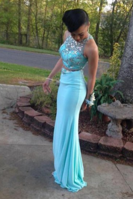 Turquoise Two Pieces Mermaid Prom Dress,Crew Neck Sleeveless Beading Prom Dresses,Crystals Prom Dresses, Evening Dress, Formal Gowns ,Evening Gowns