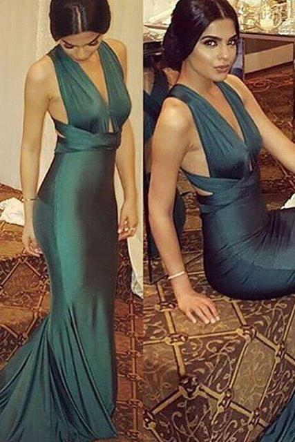 Sexy Green Prom Dress Formal Dresses,V-neck Prom Dresses, Sheath Backless Long Evening Prom Dress