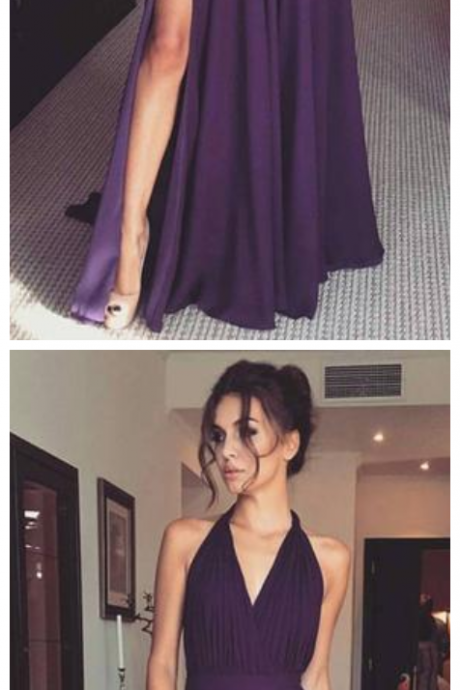 Prom Dress with Halter, Sexy Purple Evening Dresses,Prom Dresses ,with Slit, Long Evening Dress