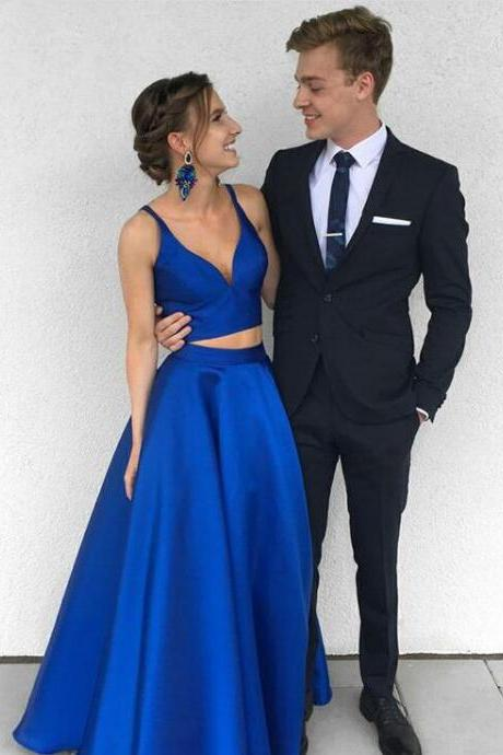 Prom Dress,Royal Blue Two-Piece Prom Gown,Long Prom Dress,Satin Blue Evening Dress