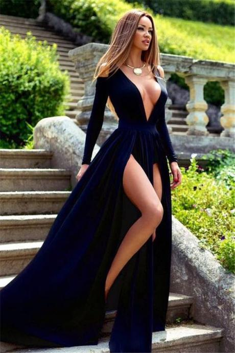 Long Sleeve Deep V-Neck 2018 Prom Dress Slit Party Gowns High Quality Wedding Dresses, Quinceanera Dresses,Formal Dress