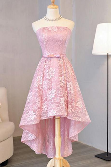 Pink Vintage High Low Lace Prom Dress, Formal Dress