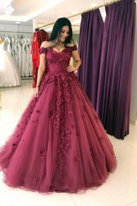 Cheap prom dresses, Lace Appliques Prom Dresses Ball Gowns,Tulle Quinceanera Dress,Off Shoulder Evening Gowns