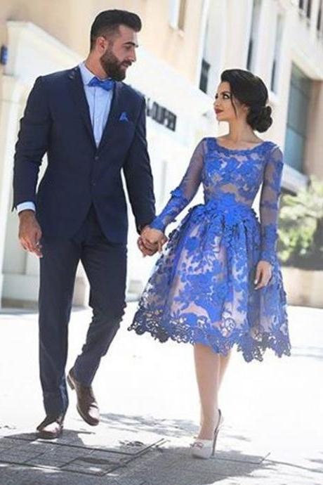 Elegant Lace Long Sleeve Homecoming Dress,Knee Length Homecoming Dresses