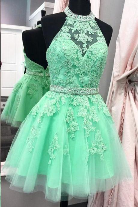 halter homecoming dress,tulle homecoming dress,short prom dresses,lace homecoming dress,elegant party dress