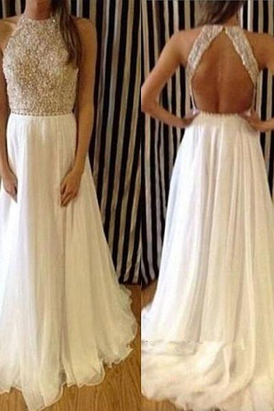 Pretty White Silk Chiffon Prom Dress,Long Backless Prom Gowns with Applique and Beadings, Prom Dresses ,Evening Dresses,Long Prom Dresses,Party Dresses