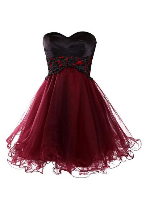 Wine Red Tulle Homecoming Dress,Short Lace Up Prom Gown , MIni Prom Dresses, Burgundy Homecoming Dresses