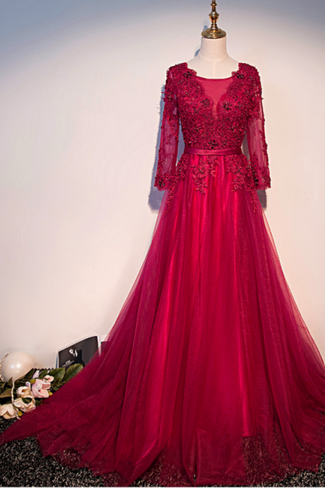 Red Long Sleeves Prom Dresses,Formal Occasion Dress ,Evening Dress,Evening Dresses,Long Prom Dresses,Party Dresses