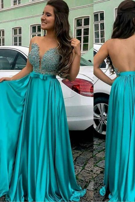 See Through Back Sheer Beaded Blue Evening Prom Dress Sexy V-neck A line Satin Prom Dresses,Beaded Prom Dresses, Long Evening Dress