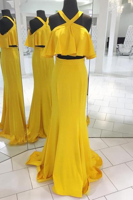 Two Piece Yellow Long Prom Dress with Ruffle,Prom Dresses,Evening Dress,Long Evening Dress