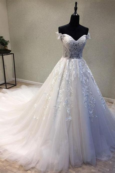 White Sweetheart Wedding Dress,Tulle Lace Wedding Dresses,Applique Long Bridal Dress,Prom Dresses, Long Evening Dress