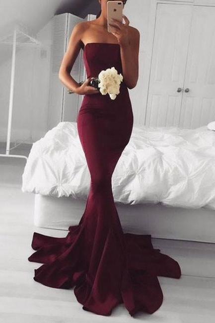 Burgundy Mermaid Evening Dresses,Strapless Long Evening Prom Dress,Evening Dress,Full Length Prom Dress