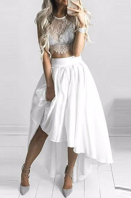 Unique Two Pieces Lace Prom Dress, White Evening Dress,Evening Dress,Full Length Prom Dress