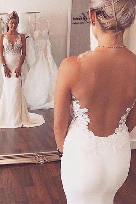 White Lace Wedding Dresses,Mermaid Bridal Dresses,Backless Long Prom Dress, White Lace Wedding Dress