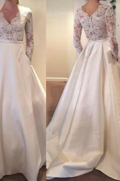 Charming Wedding Dress,Long-Sleeves Bridal Dress, Satin Wedding Dresses, V-Neck Evening Dress