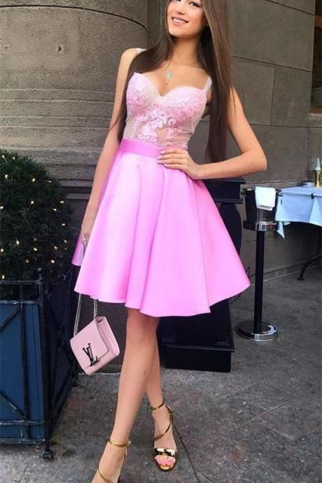 Short Graduation Dress, Pink Short Party Dress, Homecoming Dress, Graduation Party Dresses, Banquet Gown
