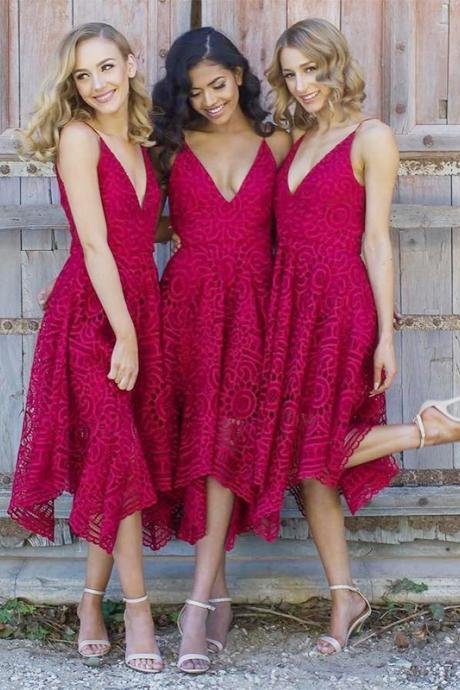 Asymmetry Deep V Neck Lace Bridesmaid Dress, Spaghetti Straps A Line Party Dress, Lace Prom Dress, Evening Dresses, Pageant Dresses, Graduation Party Dresses, Banquet Gown