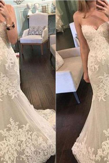 Popular Sweetheart Strapless Wedding Dress,Mermaid Lace Wedding Dress,Tulle Cheap Wedding Dresses,Fashion Bridal Dress,Sexy Party Dress,Custom Made Evening Dress