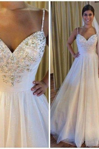 Sweetheart Wedding Drese,Beaded Wedding Dresess, A Line Tulle Wedding Gowns,Fashion Bridal Dress,Sexy Wedding Dresses,Custom Made Evening Dress