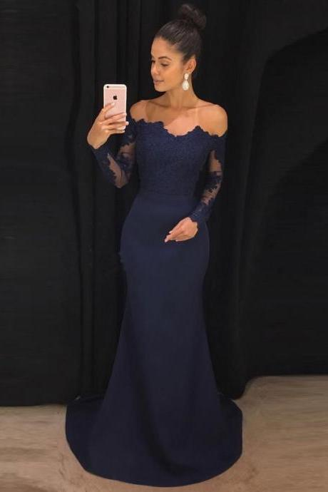 Off the Shoulder Navy Prom Dress,Mermaid Prom Dresses with Long Sleeves,Sweep Train Lace Prom Dress ,Fashion Prom Dress,Sexy Party Dress, New Style Evening Dress