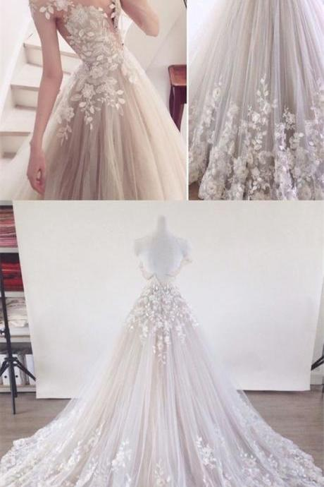 A-Line Round Cap Sleeves Wedding Dresses,Light Champagne Wedding Dress with Appliques