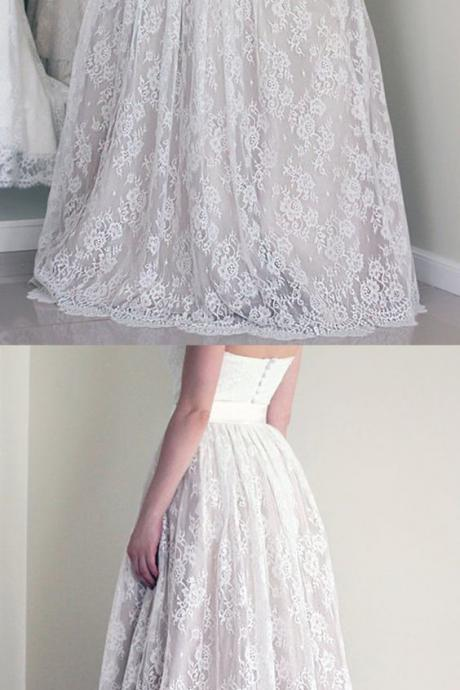 Wedding Dress,Stylish Sweetheart Long Wedding Dresses,White Wedding Dress with Lace
