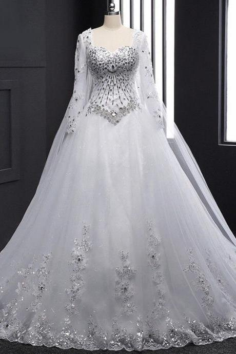New Bandage Tube Top Crystal Wedding Dress, Long sleeve Bridal gown