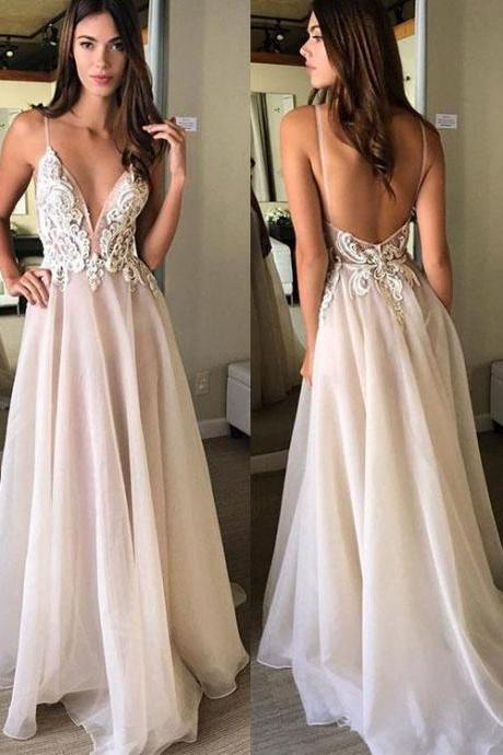 Champagne v neck lace long prom dress, champagne evening dress,Floor Length Evening Prom Gowns,Prom Dresses, Long Evening Dress
