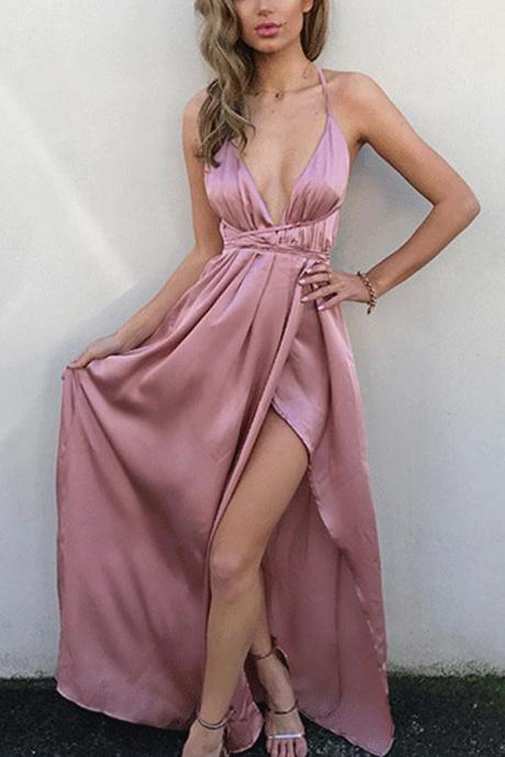 Simple Pink V Neck Prom Dresses,Spaghetti Straps Long Prom Dress with Slit,Floor Length Evening Prom Gowns,Prom Dresses, Long Evening Dress