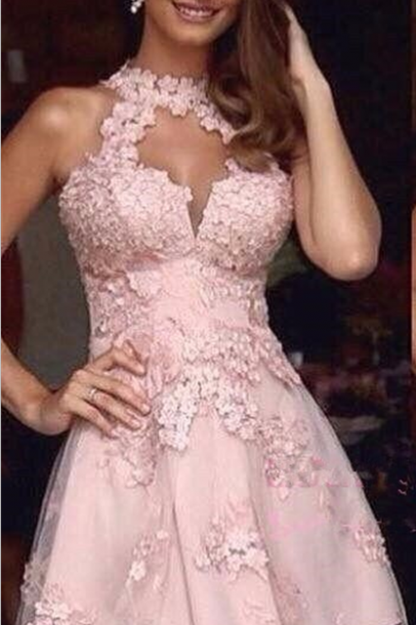 A-line Homecoming Dress,Pink Homecoming Dresses,Appliques Homecoming Dresses,Short Prom Dresses,Party Dresses