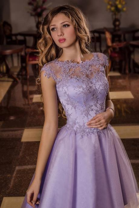 Lavender Short Homecoming Dress ,Short Sleeves Party Dress, Prom Dresses