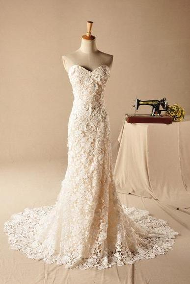 Strapless Sweetheart Wedding Dresses,Lace Mermaid Long Wedding Dress