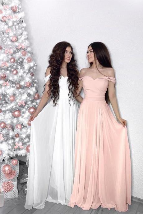 Off The Shoulder Chiffon Prom Dress,Sweetheart Long Party Dress,Birthday Dress,Bridesmaid Dress