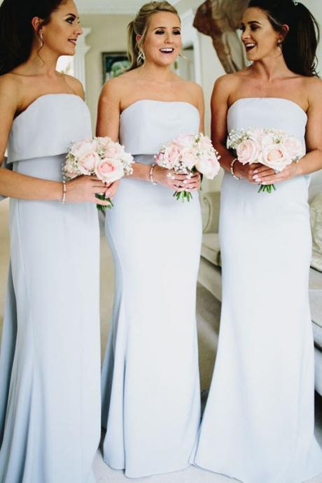 Elegant Strapless Light Blue Bridesmaid Dresses,Mermaid Long Bridesmaid Dress With Bow,Long Party Dresses