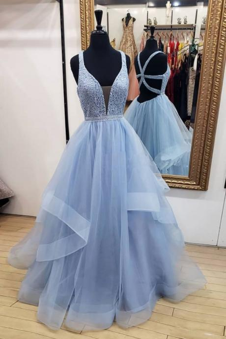 Sexy Blue V-Neck Lace Prom Dress With Cross Back,Sleeveless Tulle Ruffles Evening Dress