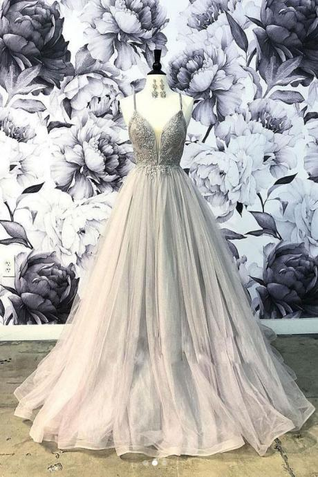 Elegant Spaghetti Straps Grey Tulle Prom Dress With Lace,Applique Formal Dress,Long Sweetheart Evening Dresses