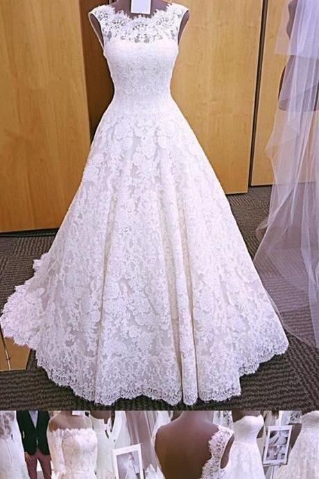 Vintage Cap Sleeves Open Back Wedding Dress,Lace Wedding Dresses, Puffy Long White Bridal Gowns Real Pictures,wedding dresses