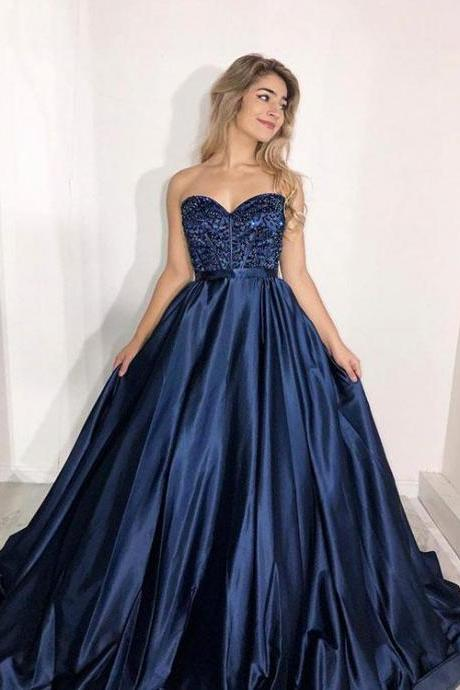 Sweetheart Dark Blue Beaded Prom Dresses,Long Satin A-Line Party Dress,Prom Dress