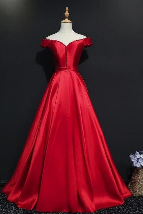 Red Satin New Off Shoulder Beaded Long Formal Dress,Prom Party Gowns,Evening Dress