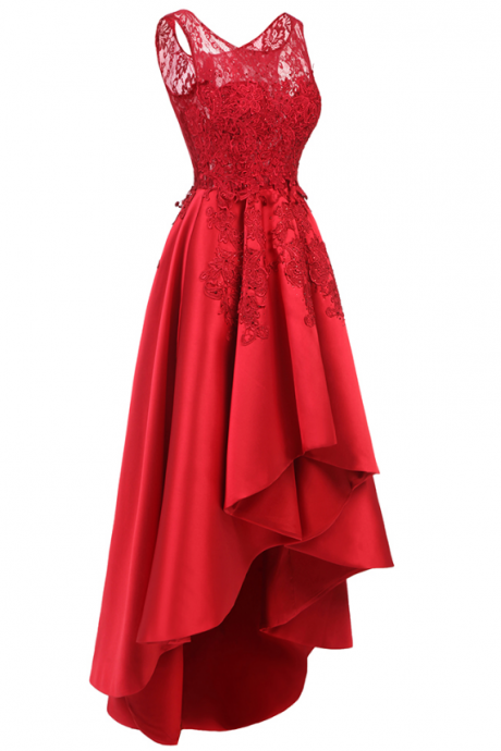 Red Lace Prom Dresses,sleeveless evening dress