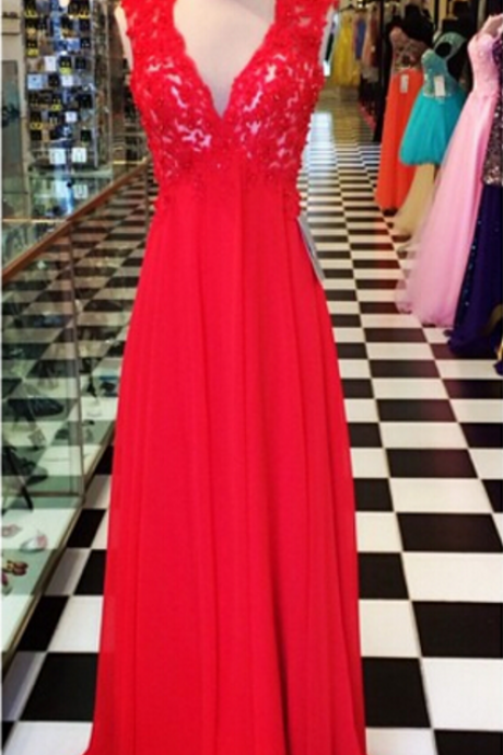 Open Back Long Red Chiffon Prom Dress with Lace Bodice