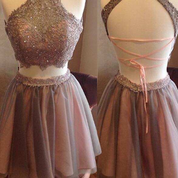 Beading Homecoming Dress, 2 pieces homecoming dress , Tulle Prom Dress, short prom dress ,graduation dress
