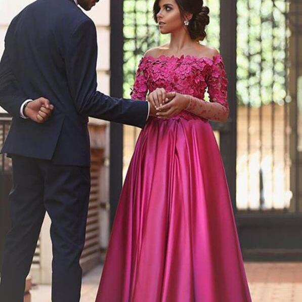 Fuchsia Long Sleeves Prom Dress,Sexy Prom Dress,Formal Dress, Party Dress, Formal Occasion Dress Prom Dress with 3D Flowers