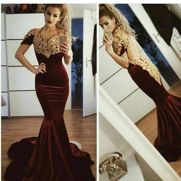 Gold Lace Appliques Prom Dress, Velvet Mermaid Evening Dress, Backless Long Prom Dress