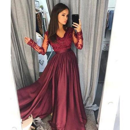 Sexy Burgundy V Neck Prom Dress, Lace Sheer Long Sleeves Prom Dresses, Satin A Line Floor Length Evening Gowns, Formal Party Dresses Vestidos de festa