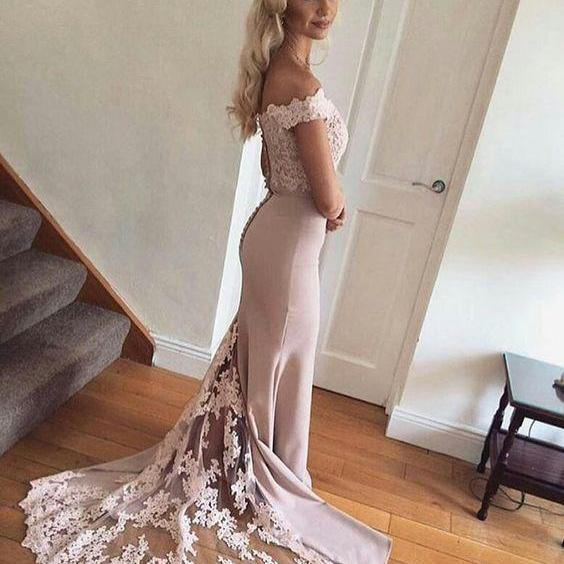 Lace Long Mermaid Prom Dress, Sexy Off Shoulder Evening Dress, Formal Evening Gowns